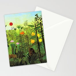 Exotic Jungle Landscape with Lion and Lioness by Henri Rousseau Stationery Cards