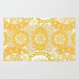 Orange Kaleidoscope Patterned Mandala Rug