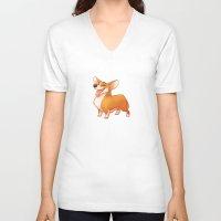 corgi V-neck T-shirts featuring Corgi by Chelsea Kenna