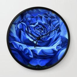 Blue Rose Graffiti, realism, gold, flower, dia de los muertos Wall Clock