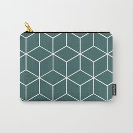 Cube Geometric 03 Teal Carry-All Pouch