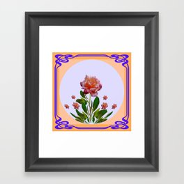 PEACHY PINK ROSE ART NOUVEAU ART Framed Art Print