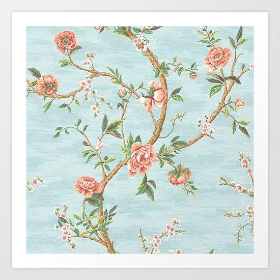 Rose bushes have thorns -Roses Flowers Floral Vintage Retro on Aqua #Society6 Art Print