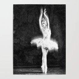 Ballet Dancer Extended Black and White Dancing Dance Love Class Teacher Poster