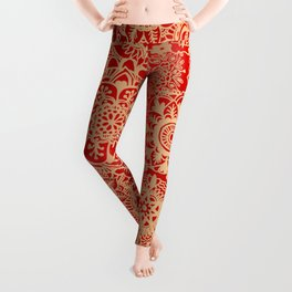 Red and Gold Mandala Pattern Leggings