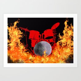 Flaming Red Drum Set Art Print