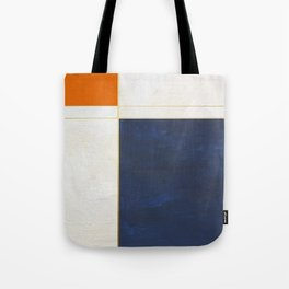 Orange, Blue And White With Golden Lines Abstract Painting Tote Bag
