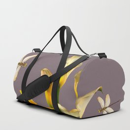 GOLD CALLA LILIES & DRAGONFLIES ON GREY Duffle Bag