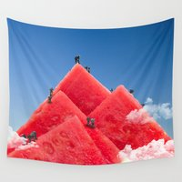 watermelon Wall Tapestries featuring Watermelon by JA! Collage
