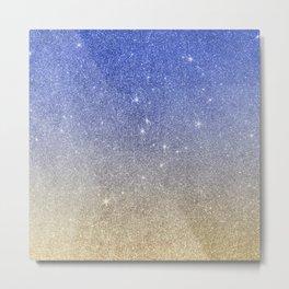 Modern sky blue faux gold ombre glitter Metal Print