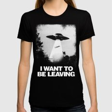 I WANT TO BE LEAVING MEDIUM Black Womens Fitted Tee