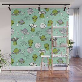 Alien outer space cute aliens french fries rad sodas pattern print mint Wall Mural