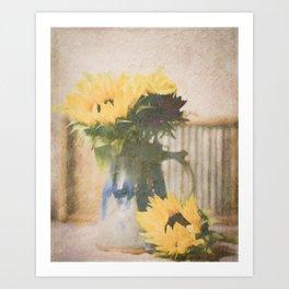 First Sunflowers of Autumn Art Print