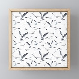 Flying Seagulls over the Ocean - Maritime Pattern - Mix & Match with Simplicity of life Framed Mini Art Print