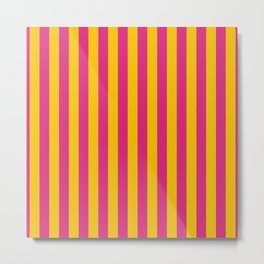 Hot Pink and Gold Small Even Stripes Metal Print