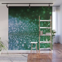 Aqua Glitter effect- Sparkling print in green and blue Wall Mural