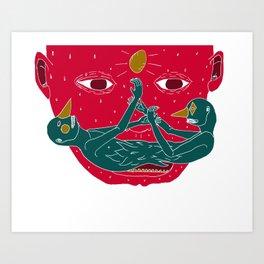 Burning mustache Art Print
