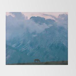Mountain Sunset Horse - Landscape Wildlife Photography Throw Blanket