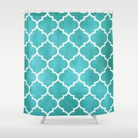 morocco Shower Curtains featuring MOROCCO - AQUA by pike design