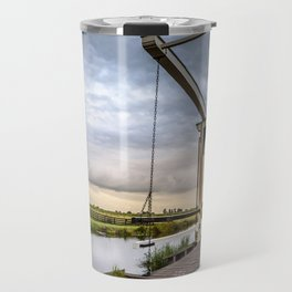 Canal and Bridge in Netherlands at Sunset Travel Mug
