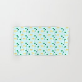 Animal Print Yellow Cheetah under Green Palm Trees on Muted Blue Background Hand & Bath Towel