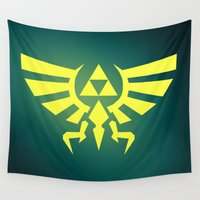 triforce Wall Tapestries featuring Zelda Triforce by WaXaVeJu