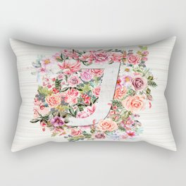 Initial Letter J Watercolor Flower Rectangular Pillow