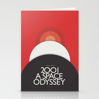 stanley kubrick Stationery Cards featuring 2001 A Space Odyssey - Stanley Kubrick Poster, Red Version by Stefanoreves