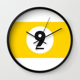 9 ball yellow Wall Clock