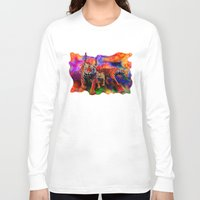 tigers Long Sleeve T-shirts featuring Psychedelic Tigers by JT Digital Art