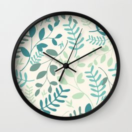 Leaves Teal Green Pattern Wall Clock