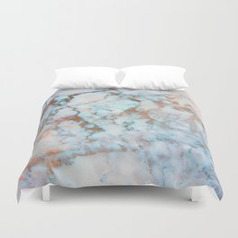Rose Marble with Rose Gold Veins and Blue-Green Tones Duvet Cover