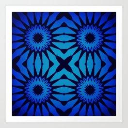 Pinwheel Flowers Classic Blue Gradient Art Print