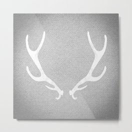 White & Grey Antlers Metal Print