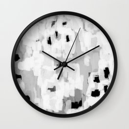 Malina - abstract painting black and white grey minimalist decor gifts for trendy design lovers Wall Clock