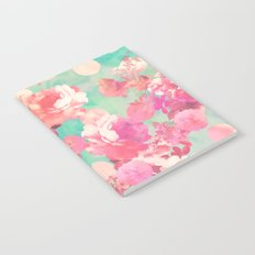 Romantic Pink Retro Floral Pattern Teal Polka Dots Notebook