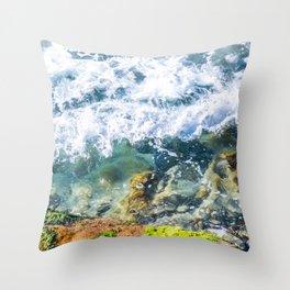 Clear Water Cliffside Throw Pillow