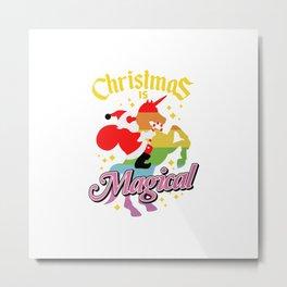Christmas Is Magical Santa Claus Riding Unicorn Metal Print