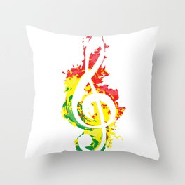 Music Note Key Reggae Color Musician Gift Throw Pillow
