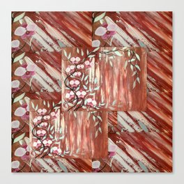 rustic brown pink orchids asian style design orchid abstract art white cream oriental treasures Canvas Print