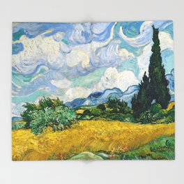 Vincent Van Gogh - Wheat Field with Cypresses Throw Blanket