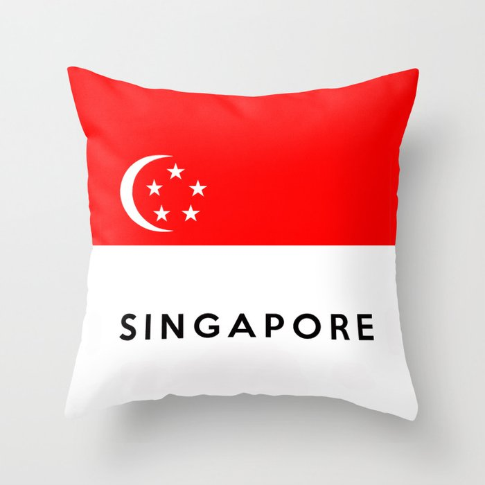 Singapore country flag name text Throw Pillow by tony4urban