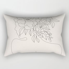 Woman with Flowers Minimal Line I Rectangular Pillow