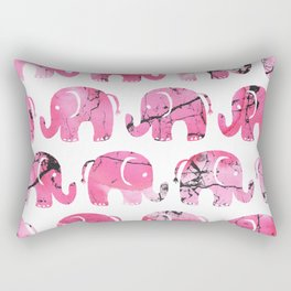 Modern pink black watercolor marble elephant Rectangular Pillow