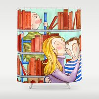 library Shower Curtains featuring Library Love by Kirsten Sevig