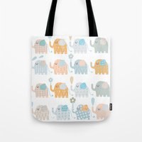elephants Tote Bags featuring Elephants by Claire Brown Surface Pattern