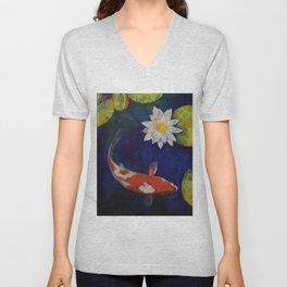 Kohaku Koi and Water Lily Unisex V-Neck