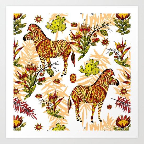 Zebras white pattern Art Print