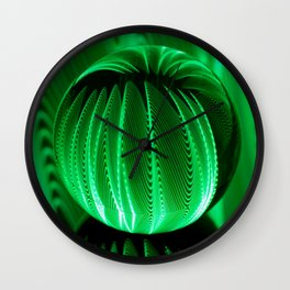 Green waves in glass ball Wall Clock