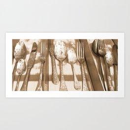 Sepia Ornate Cutlery. Art Print